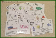 I was looking around for some flashcards for the first 12 elements that are covered in weeks of Classical Conversations, Cycle I found a close set here, but they didn't round the atomic ma. Classical Education, Kids Education, Science For Kids, Science And Nature, Elementary Science, Montessori, Cc Cycle 3, Holistic Education, Science Chemistry