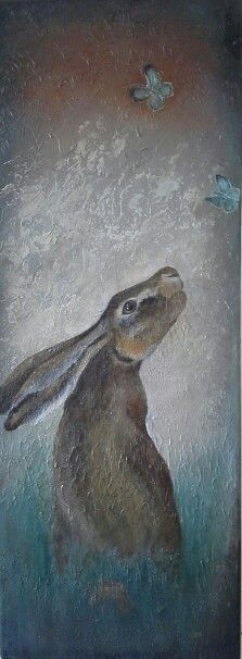 Hare and the butterflies. Acrylic on Canvas by Coral Spencer