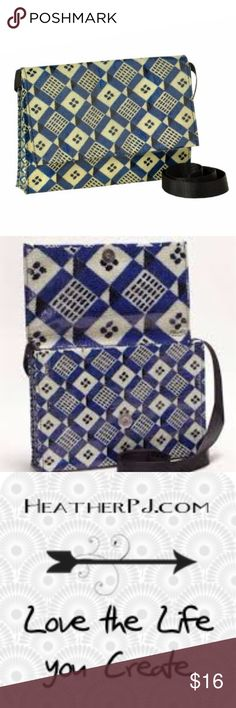 """Blue Geometric Modern Crossbody Bag with 56"""" Strap Blue Geometric Modern Crossbody Bag Made from 95-percent post-consumer recycled material, Plastics, Feedbags, Signage Materials Splashed with bold graphics; sassy shape Features a 56″ super-soft nylon strap, strong hidden magnetic flap closure. Water proof and easy to clean NWT from my Florida gift shop. Bundle to save! Blue Q Bags Crossbody Bags"""