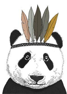 Poster Indian Panda A4 - Minimel www.HippeKidsKamer.nl
