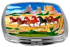 Rikki Knight Compact Mirror Lucky Horses in Color Running 3 Ounce ** See this great product.