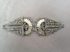 art deco clasp belt buckle with rhinestones | Art Deco Paste rhinestone buckle clasp 1920s by thejunkdiva, $68.00