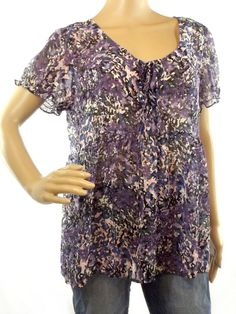 Women's ANA Multi Color Top Blouse Chiffon Short Sleeve Lace Up Neck Size L #ana #Blouse #Casual