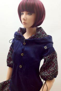 2-tone Hoodie Dress (Dark Blue Metal) OS-133 OUGI SAIGON order-made studio for 1/3 scale Doll