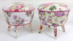 2 x Floral Foot Stools by namedesignstudio on Etsy https://www.etsy.com/listing/186293730/2-x-floral-foot-stools