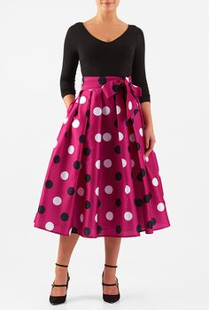 I <3 this Polka dot print dupioni mixed media dress from eShakti