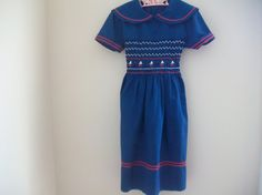 Vintage Girl Navy Smocked Embroidered Sailor by LittleMarin,