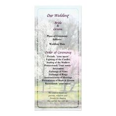 Designs by Susan Savad - Line of Flowering Trees Wedding Program -- Spring wedding program that you can customized yourself.  #wedding  #weddingprogram #customize #spring #floweringtrees   $0.55  per card   BULK PRICING AVAILABLE!