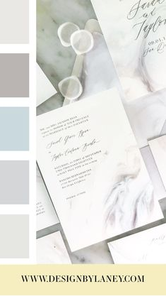 Marble Ice This suite embodies a cool, sophisticated aesthetic with ice blue, gray, and white marbled tones. It's perfect for an elegant bride with a minimalist vibe. Mix and match envelope and text colors to make this wedding invite ideal for your Big Day. See below for all the details and corresponding pieces!