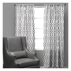 curtains light, simple, gray and white.