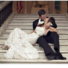 I like this photograph if there are stairs at the wedding location. It is a unique and different pose than I have seen before.