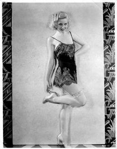 1930s lingerie, undergarments: slip dress, fancy suspender/ garter belt. Adrienne Dore
