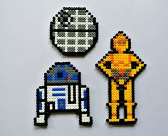 Star Wars perler bead sprites :Death Star, R2D2 and C3PO by PixelPearls