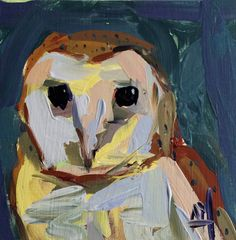 Barn Owl no. 3 original bird acrylic painting by Angela Moulton 6 x 6 inch on birch panel ready to hang FREE SHIP!