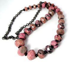 Beautiful Pink and Black Rhodonite Faceted Beads and Black Onyx Necklace