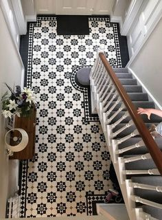 london mosaic supply beautiful period style floor tiles that are available in a sheeted format . pavimento london mosaic supply beautiful period style floor tiles that are available in a sheeted format . Geometric Floor, Tiled Hallway, Edwardian Hallway, Hallway Flooring, Beautiful Tile Floor, Hallway Walls, Flooring, Victorian Hallway, Hallway Decorating