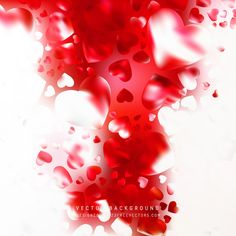 Romantic Red White Hearts Background