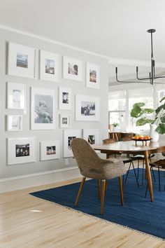 The Curbly Family Dining Room Makeover Big family photo wall collage Family Dining Rooms, Dining Room Walls, Dining Room Design, Family Room, Family Photo Walls, Room Chairs, Style At Home, Rental House Decorating, Decorating Ideas