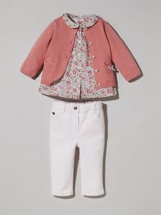 CARDIGAN WITH LIBERTY DETAILING + LIBERTY BLOUSE + SLIM-FIT JEANS -