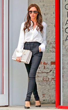 CHANNELING AUDREY HEPBURN  Victoria Beckham is perfection in the city—New York City, that is—with this silk button-up blouse, fitted black trousers and a gold-strapped bag all from her label, teamed with Manolo Blahnik heels. This look is simple but chic, relaxed yet elegant, and every bit as posh as her Spice Girl nickname. [Insert standing ovation here.]