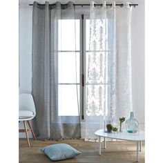 Single damask voile panel with eyelets , ivory, La Redoute Interieurs | La Redoute