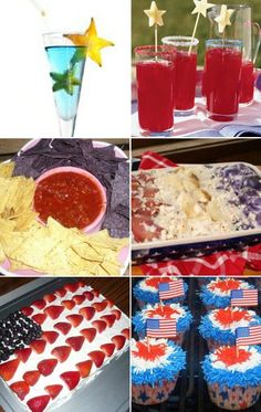 red, white, & blue food, love the white/blue chips and salsa