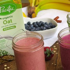 Warm afternoons call for vegan-friendly smoothies to cool off with! Mix with your favorite fruits and blend with our Organic Oat Original for a nourishing summer drink.