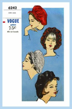 60s Vintage Vogue Hats SNOOD BERET Fascinator Fabric Sewing Pattern Chapeau 6242
