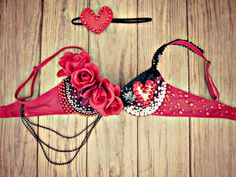 Queen of Hearts Rave Bra by TheLoveShackk on Etsy