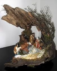 Animals were kept in caves dug into the hills so Jesus was probably born in one. Christmas Nativity Scene, Christmas Art, All Things Christmas, Vintage Christmas, Christmas Holidays, Christmas Ornaments, Country Christmas Decorations, Christmas Centerpieces, Diy Christmas Decorations