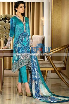 Faraz Manan Crescent Luxury Prints for Eid 2014  All the Latest Pakistani Lawn Collections 2014 and Designer Printed Suits Online in Retail and Wholesale Prices. by www.dressrepublic.com