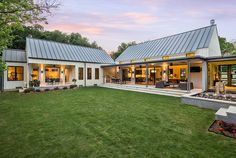 Inspiring Dream House Design With Modern Farmhouse Ideas Backyard In Exterior Green Lawn And Metal Roofing Also