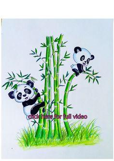 Panda Panda, Panda Art, Rose Pencil Sketch, Panda Drawing Easy, Bamboo Drawing, Bamboo Tattoo, Bird Tattoo Wrist, Wall Painting Decor, Wall Drawing