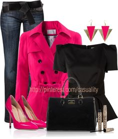 """""""Neon Pink Pumps & Buttoned Coat"""" by casuality ❤ liked on Polyvore"""