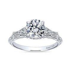 DIAMOND ENGAGEMENT RINGS - 18K White Gold Vintage Inspired Amavida Diamond Engagement Ring