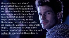 BECCA YOU HANDLED THIS WAY TOO CALMLY!!! OMIGOSH! SOMEONE FINALLY SAID THE THING THAT WE'VE BEEN RANTING ABOUT FOREVER! But like, seriously, Lancelot - the precious cupcake - sacrificed himself to save his biffle. Gwen does need to find a ladder and get over herself. Bromance before romance.
