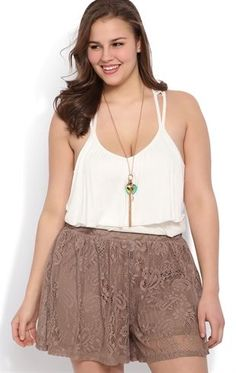 Deb Shops Plus Size Crochet Flowy Short $25.00