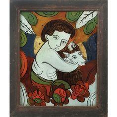 Icoană pe sticlă reprezentându-L pe Sfântul Ioan Botezătorul cu mioara, atelier transilvănean, începutul sec. XX Religious Art, Country, Painting, Inspiration, Beautiful, Moon Art, Icons, Atelier, Biblical Inspiration