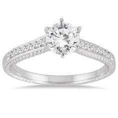 1.00 Carat Diamond Antique Ring in 10K White Gold, Women's, Size: 7.0