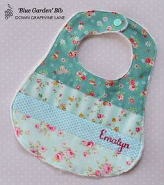 Personalised patchwork baby bib 'Blue Garden' - floral girl bib with hand embroidered name Baby Sewing Projects, Sewing For Kids, Sewing Crafts, Handgemachtes Baby, Baby Love, Baby Bibs Patterns, Patchwork Baby, Quilt Baby, Baby Crafts
