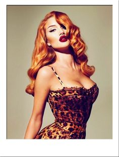 Rosie Huntington-Whitely Orange Bombshell Wig #Long #Curly #RedHead #Ginger #Burlesque #PinUp #Retro #Celebrity #JessicaRabbit #Hair #Hairstyle