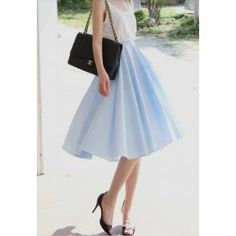 Solid Color Sweet Style Chiffon High-Waist Skirt For Women