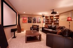 Mayfair Lane Basement Media Room Remodel - traditional - basement - indianapolis - Case Design & Remodeling Indy