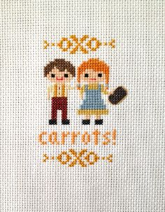 Carrots Cross Stitch Anne of Green Gables- She's holding a slate and he's pulling her hair!!