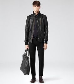 Temper Black Bomber With Gold Trims - REISS