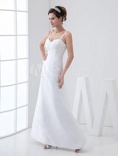 3da128ef64c A-line Spaghetti Sweetheart Floor Length Taffeta Wedding Gown