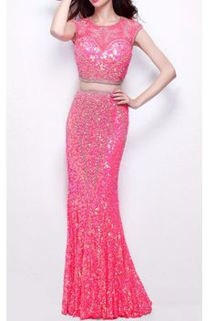 Primavera Couture 1596 Coral Pink Sequin Embellished Two Piece Gown Beaded Dresses, Prom Dresses, Formal Dresses, Pink Sequin, Coral Pink, Two Piece Gown, Dresses Online, Designer Dresses, Bodice