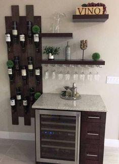Modular Wood Wine Rack – Wine Bottle Holder – Hanging Wine Rack – Black Walnut - All About Garden Hanging Wine Rack, Wine Rack Wall, Wood Wine Racks, Diy Home Bar, Home Bar Decor, Bars For Home, Home Wine Bar, Mini Bar At Home, Small Home Bars