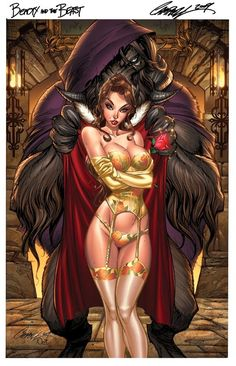 Disney Princesses Re-drawn as Pin-Ups, Tattoo Art and Superheroes - Bell drawn in sexy comic book style.