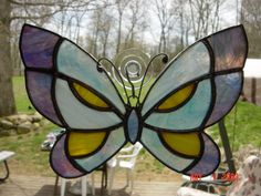 Stained Glass Butterfly made by Paula Wroblinski Glass Butterfly, Stained Glass, Butterflies, Angeles, Angels, Butterfly, Stained Glass Panels, Leaded Glass, Fused Glass